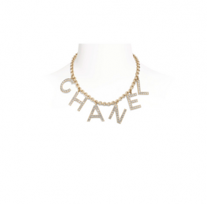 Metal & Strass Gold & Crystal Necklace | CHANEL