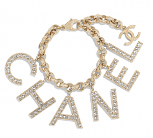 Metal & Strass Gold & Crystal Bracelet | CHANEL